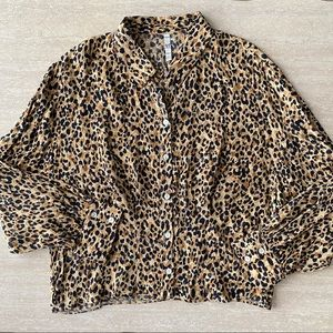 Zara TRF leopard button up blouse NWOT